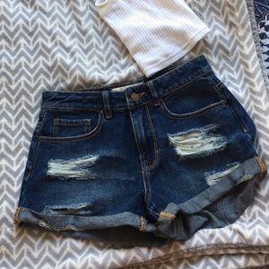pacsun dark wash distressed blue high rise shorts